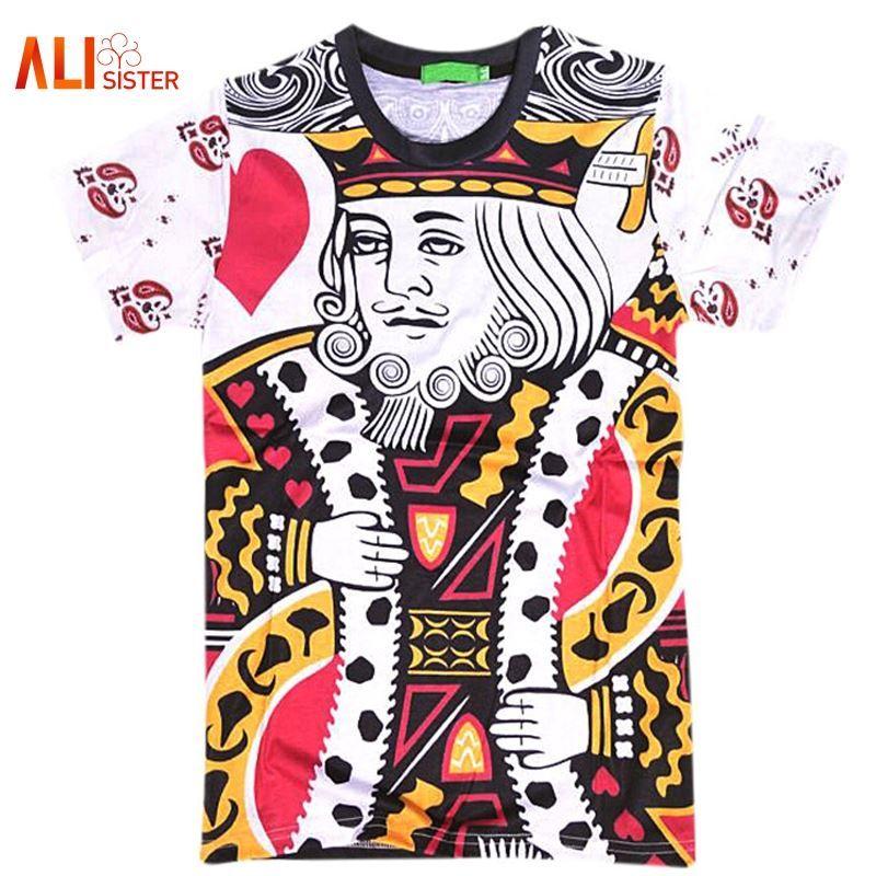 Летний стиль хип-хоп футболка Мужчины / Женщины игральные карты печати 3d футболка Harajuku одежда Camisa Masculina размер Король покер рубашка 17310