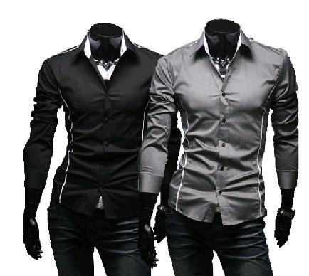 Wholesale- 2016 Brand New style Design Mens Shirts high quality Casual Slim Fit Stylish Dress Shirts 3 Colors Size:M~3XL