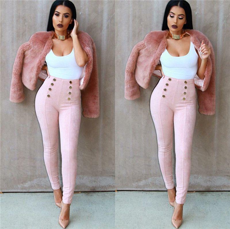 Compre Invierno Otoño De Cintura Alta Para Mujer Pantalones De Vestir De Gamuza Estirable Moda Vintage Flaco Apretado Lápiz Mujeres Pantalones A