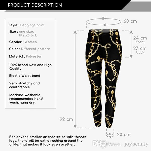 Lady Golden Chains 3D Graphic Print Skinny Stretchy Pants Yoga Leggings
