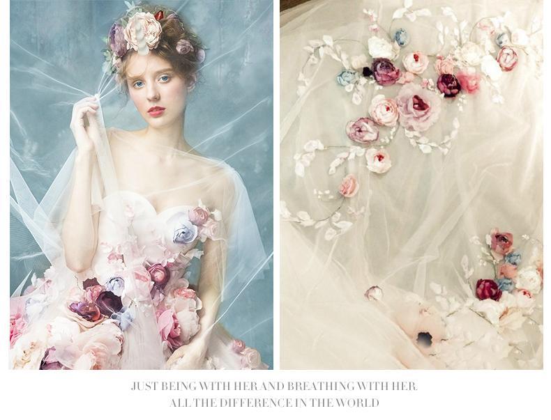 2016 Wedding Dresses 3d Floral Appliques Wedding Dresses Pink ...