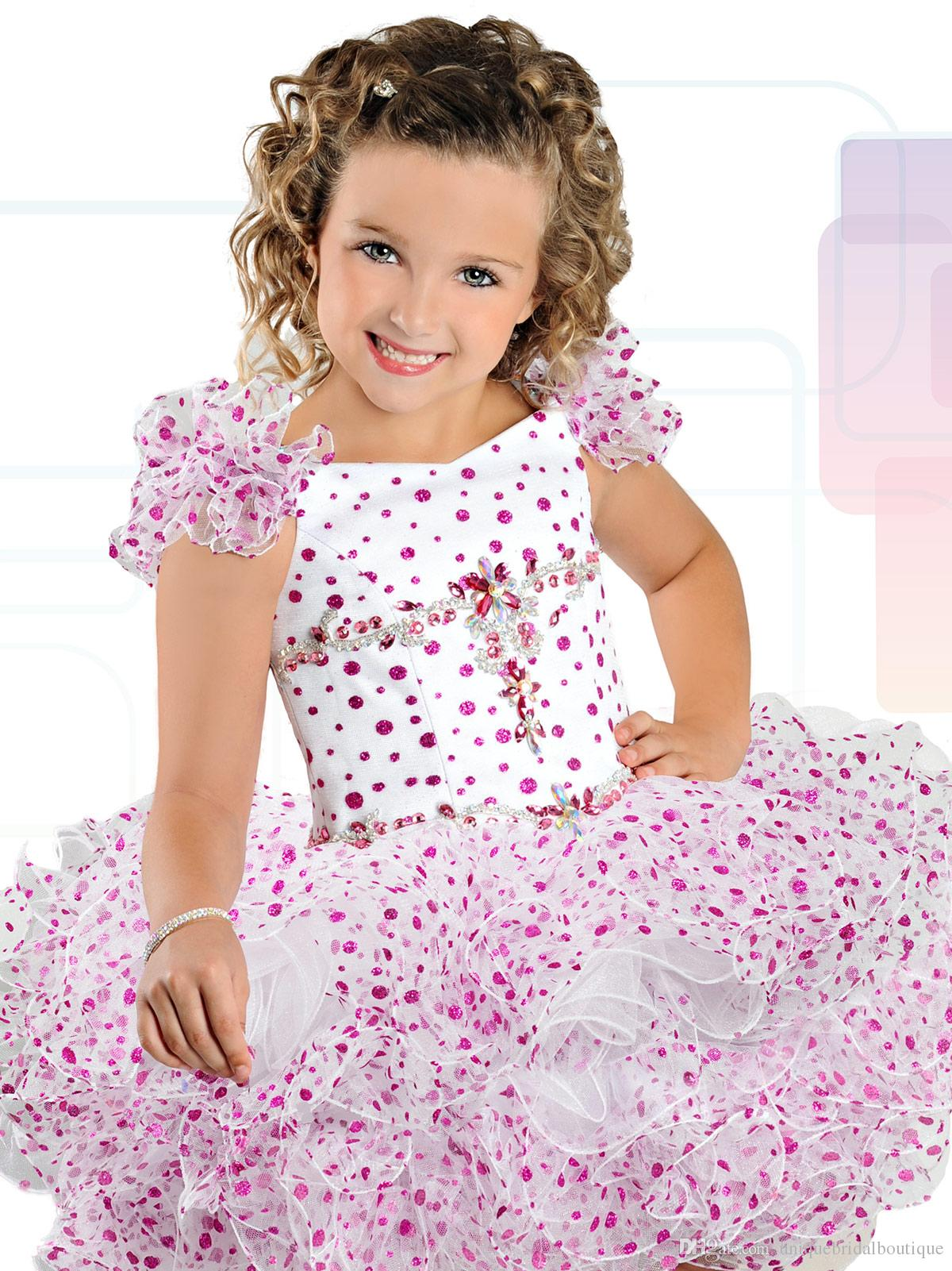 Ritzee Girls B741 Ruffled Sleeves Cupcake Pageant Dress for Little Girls 1950's Inspired Polka Dotted Tutu Dress for Party Custom Made