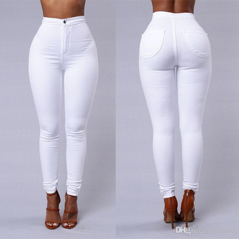 Tight high waisted white jeans