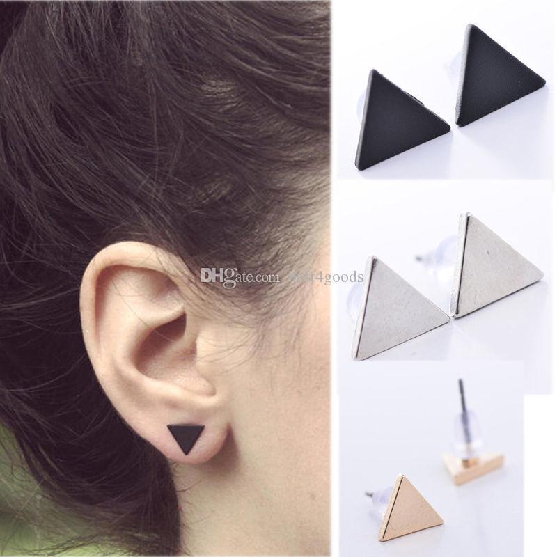 Mode féminine Lady Style Punk Triangle Rue Boucles d'oreilles de style oreille Stud Boucles d'oreilles Nouveau 3 couleurs