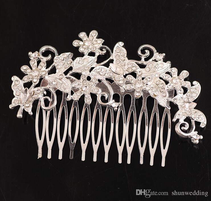 Donna Sposa Nuziale Cristallo Strass Faux Pearl Fiore Farfalla Capelli Combs Accessori per capelli Sposa Tiara Argento placcato