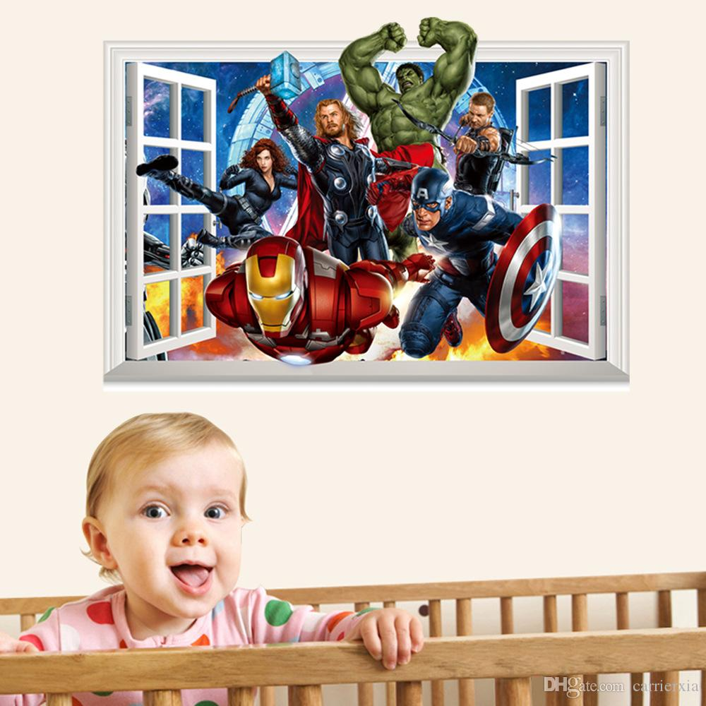 3D Avengers Pencere Tarzı Duvar Sticker Çocuklar için PVC Renkli Sanat Mural Duvar Çıkartması Çocuklar ve Kreş Dekorasyon Için