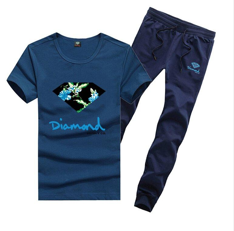 D1202 Frete grátis s-5xl novos homens Lazer Diamante Fornecimento T-Shirt e calças compridas terno o-pescoço Fatos de cintura Elástica