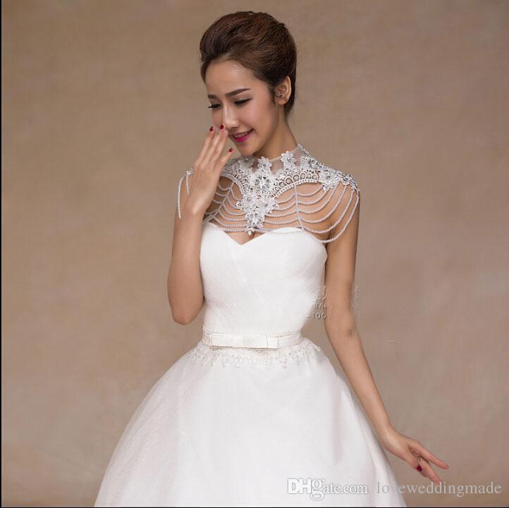 Bride lace flower beading rhinestone shoulder necklace wedding dress
