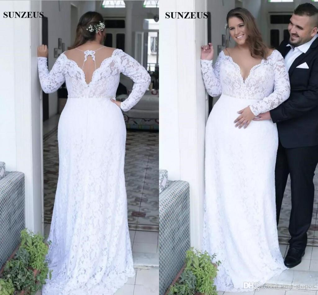 Modest Plus Size Sheath Wedding Dresses Full Lace Long Sleeves Deep V Neck  Bridal Gowns Custom Made Vestidos De Novia Designer Dress Designer Gowns ...