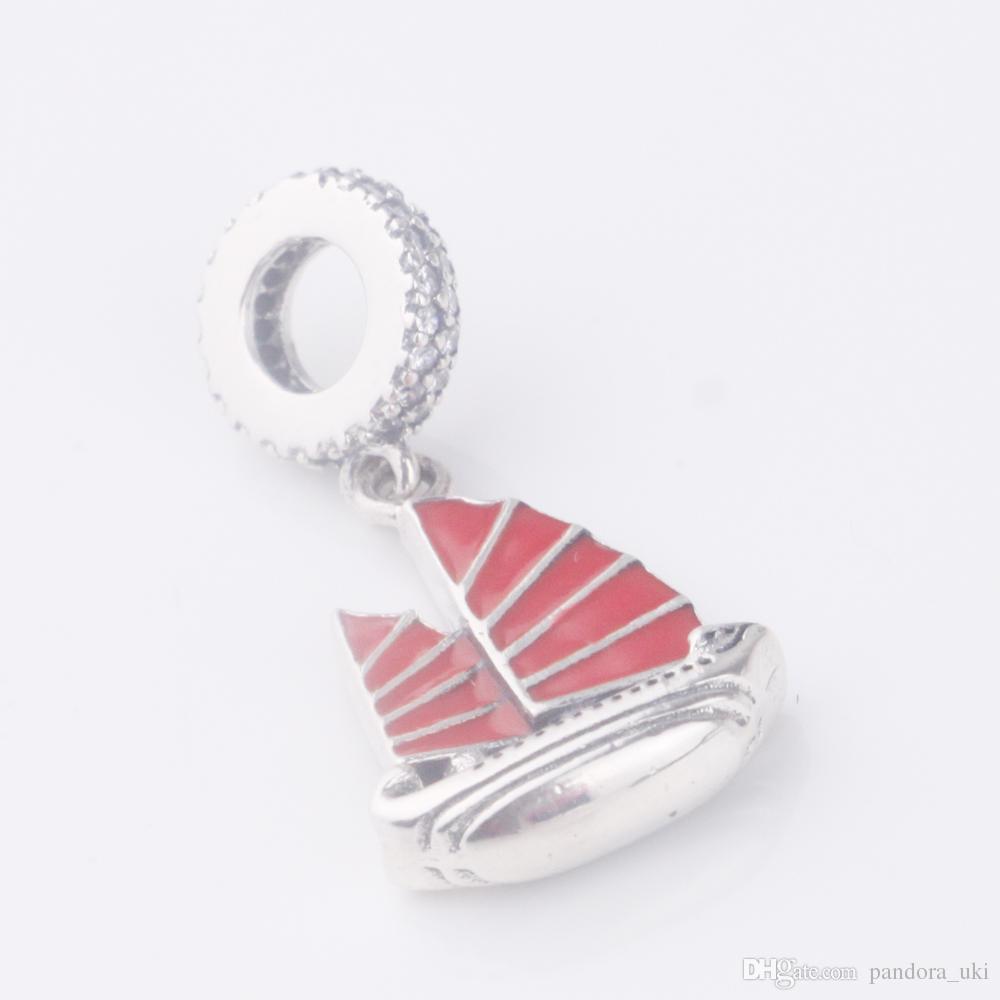 2017 nuovo arrivo 925 fascini d'argento smalto rosso gioielli perline ciondolo barca veliero d'epoca donne Fit for Bracciali Pandora