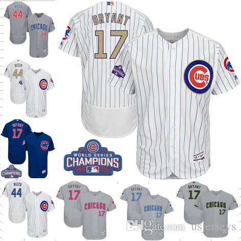 new concept 826df 6786b 2019 2017 Gold Flex Base Chicago Cubs Jersey #9 Baez #17 Bryant #44 Rizzo  #12 Schwarber World Series Champions Father Mother Day Baseball Jerseys  From ...