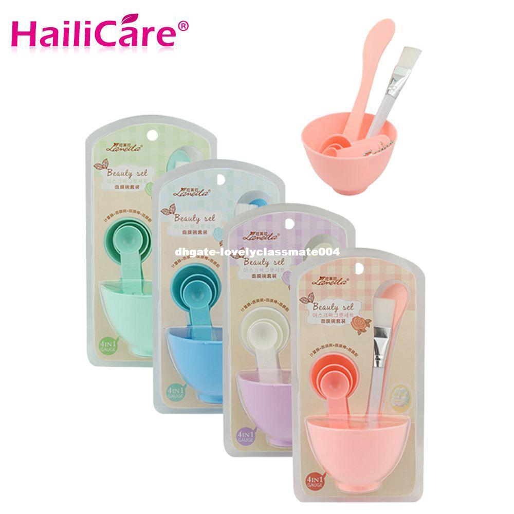 4 in 1 Homemade Makeup Beauty DIY Facial Face Mask Bowl Brush Measuring Spoon Tool Set Skin Care Make up Tools Kit Accessories