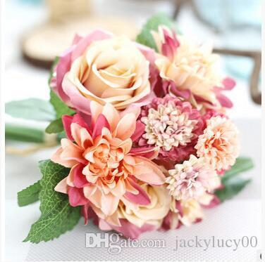 고급 인공 가정 생활 장식 로즈와 달리아 꽃 웨딩 신부 개최 꽃다발 멀티 색상을 사용할 수