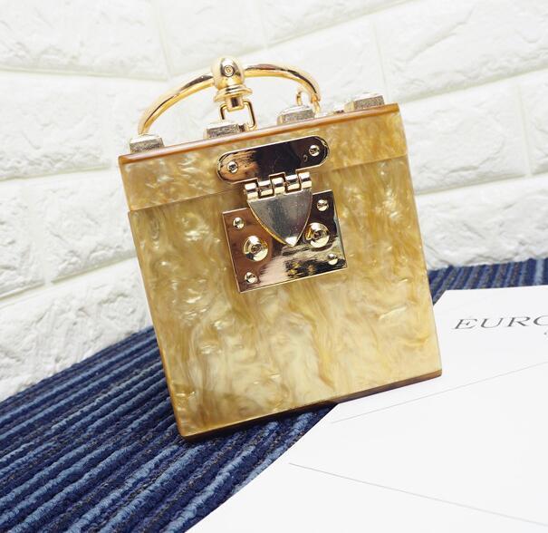 Factory wholesale handbags luxury fashion diamond woman handbag personality acrylic hard box brand handbag trend acrylic diamond Dinner Bag