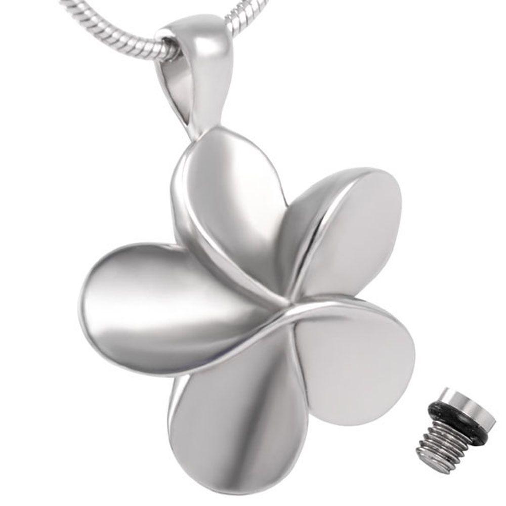Estilo clásico de IJD8026 alta pulido plateado flor de acero inoxidable Memorial urna de cremación joyería para el collar colgante de Ceniza