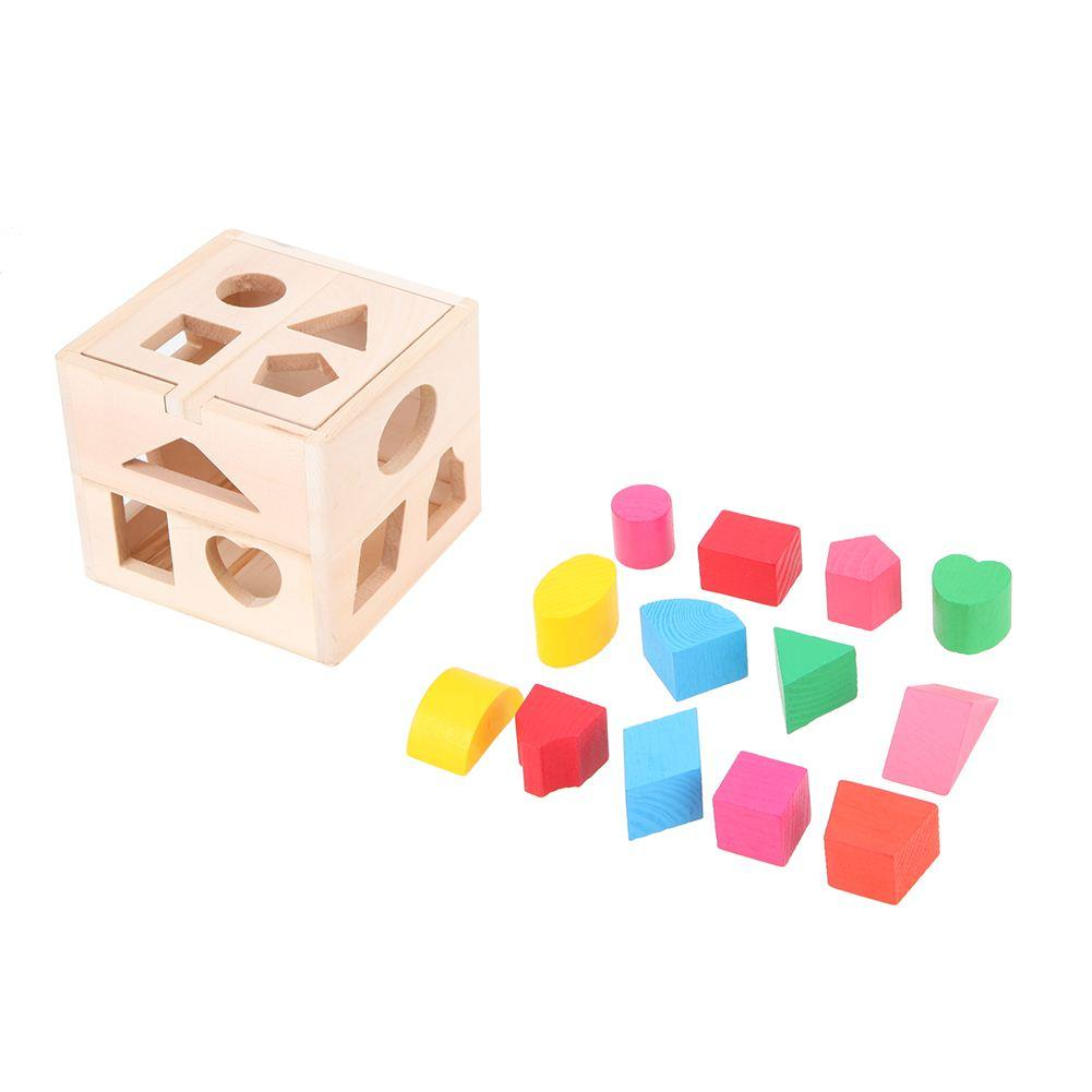 13 Holes Intelligence Box for Shape Sorter Cognitive and Matching Wooden Building Blocks Baby Kids Children Educational Toy Gift