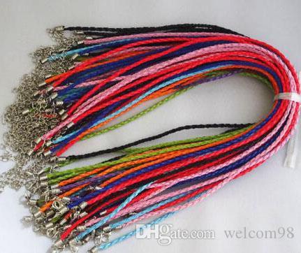 100 pcs / lot Mix couleurs collier en caoutchouc cordon avec fermoirs de homard pour bricolage mode bijoux cadeau livraison gratuite W10