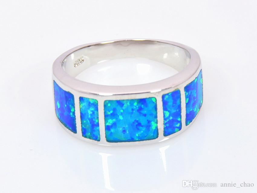 Comercio al por mayor al por menor de la manera Fine Blue Fire Opal Ring 925 plateó la joyería para las mujeres RMF16032601