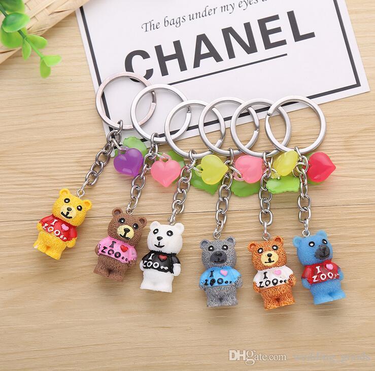 Good A++ Cartoon cute color love resin animal bear key pendant key ring KR120 Keychains mix order 20 pieces a lot