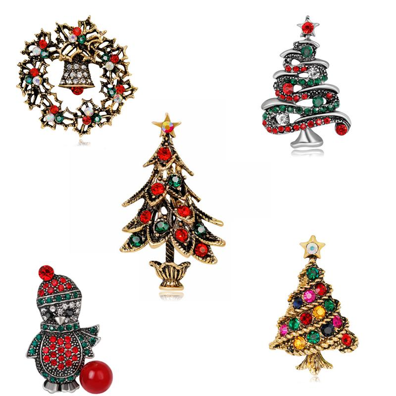 Moda all'ingrosso Colorato Mentale Oro argento Corona di albero di Natale Spilla Ragazza di Natale Donna Natale pinguino Gioielli Regali spilla