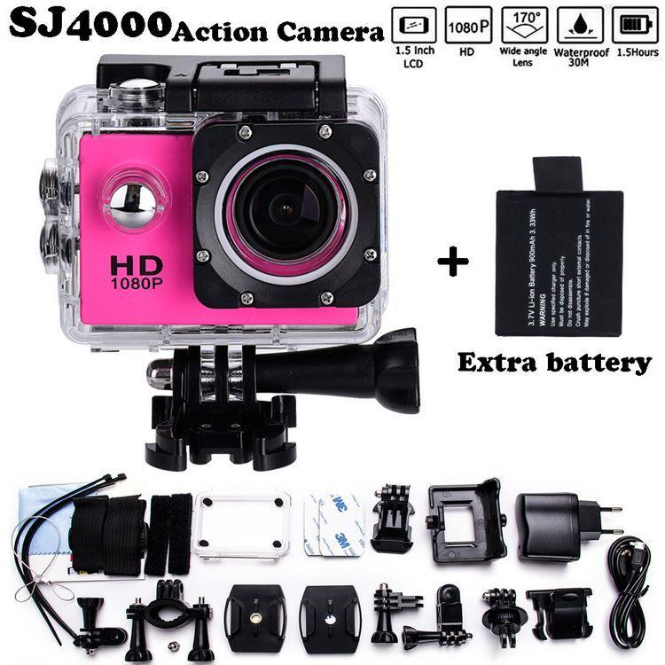 "2x battery Mini Camcorder go hero pro style 1080p Full HD DVR SJ4000 30M Waterproof Action Camera 2.0""LCD Screen Free shipping"