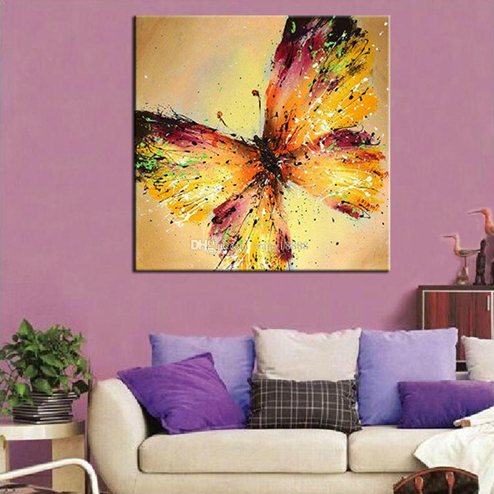 2018 Large Modern Abstract Yellow Butterfly Hand Painted Oil ...