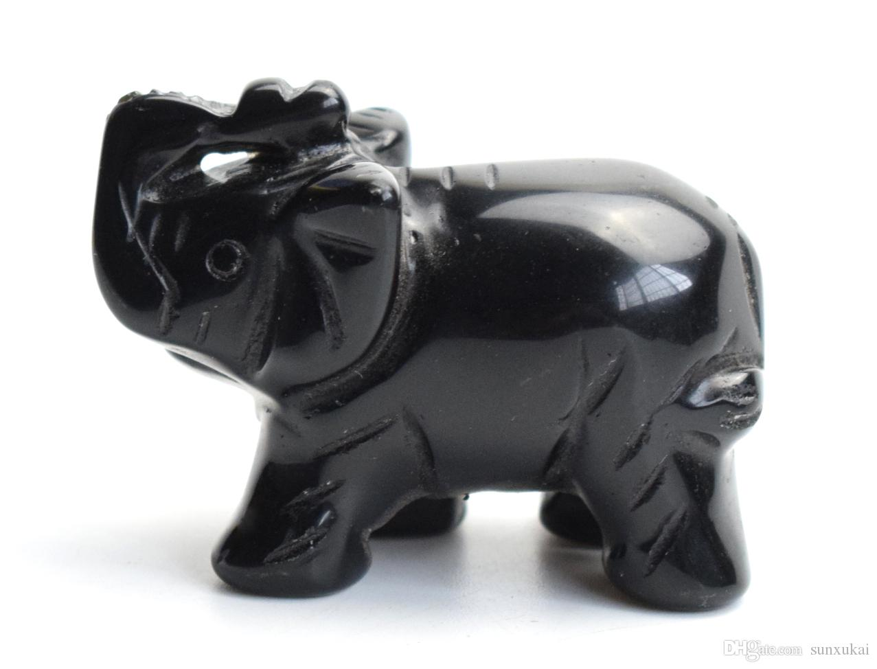 """Home Decor Statue Elephant Figurine Black Obsidian Stone Carved Lucky Gift 1.9/"""""""