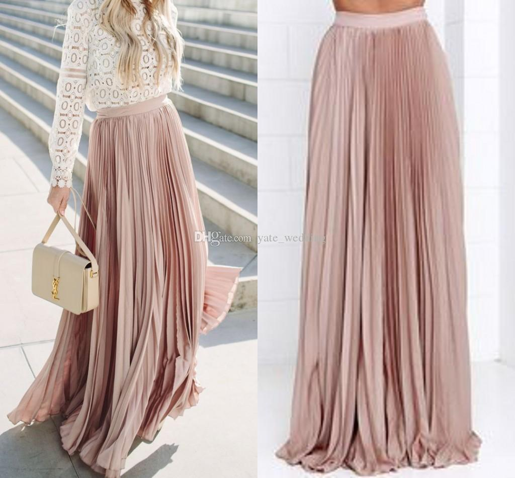 Stunning Pleated Maxi Blush Skirts For Women Fixed Waist Floor Length Casual Long Skirts Spring Fall Satin Skirts