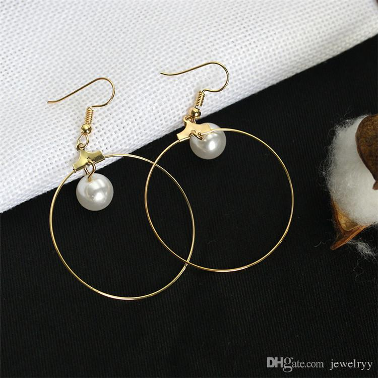 Big Round Circle Pearl Earring Fashion Golden Fish Ear Hook Antique Dangle Chandelier Women Pendant Earrings Party Jewelry Gift for Girls
