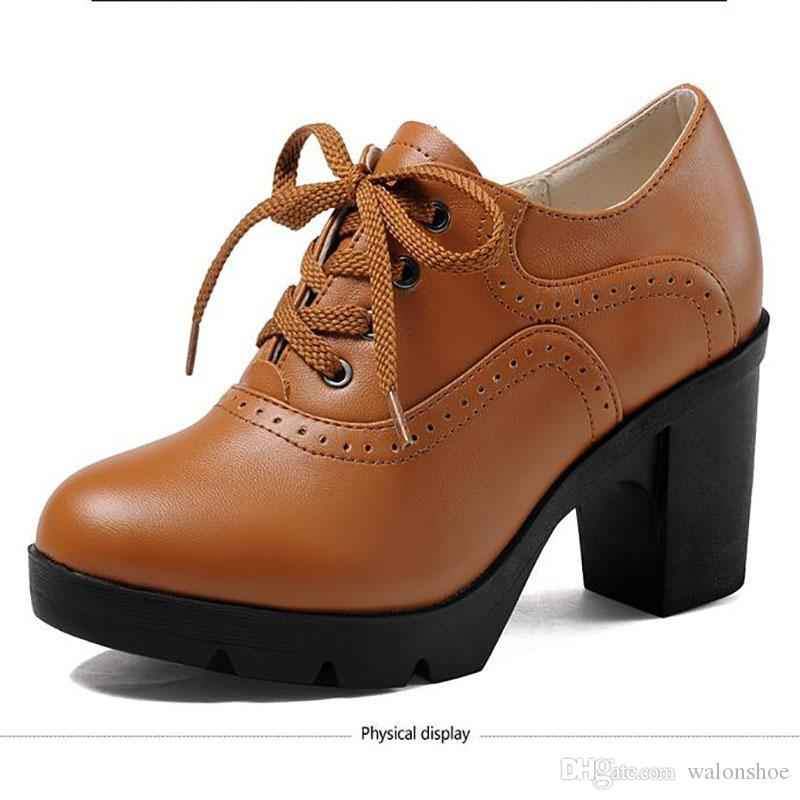 Горячие продажа мода женщины насосы толстые каблуки зашнуровать повседневная обувь дамы элегантный натуральная кожа рабочая обувь бесплатная доставка