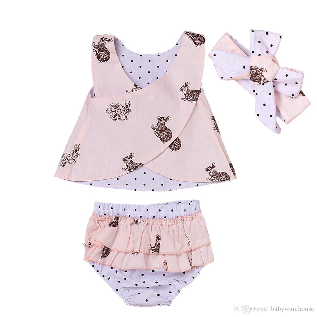 Newborn Baby Girls Clothes Summer Sleeveless Backless Cross Tops + Polka Dot Shorts + Headband 3PCS Set Girls Outfits Kids Clothing Boutique