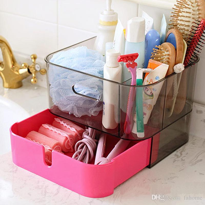 Fashion DIY Plastic Makeup Storage Display Box With Drawer Jewelry Chest Cosmetics Storage Case Holder Display Organizer