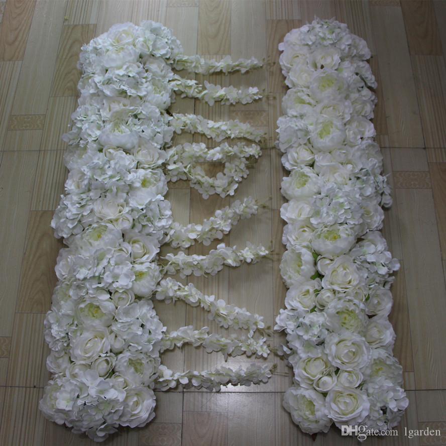 Nouvelles fleurs voûte simulation soie rose Hortensia pivoine fleur mariage décorations de table, route de mariage fleur de plomb 10pcs / lot
