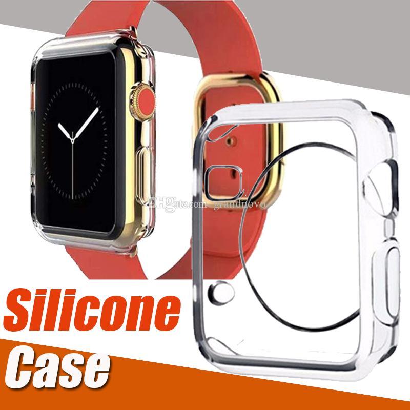 Ultra Slim Transparente Crystal Clear macio TPU à prova de choque de borracha da tampa do caso da pele de silicone para Apple Series Assista 4 3 2 1 40 milímetros 44 milímetros 38 milímetros 42 milímetros
