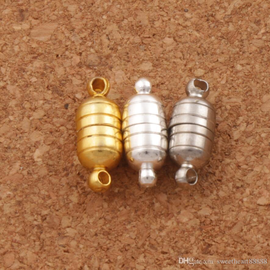 Heet 50 sets / lot 18 * 6mm krachtige magnetische magneet ketting casps 3 kleuren zilver / vergulde voor ketting sieraden DIY L1762