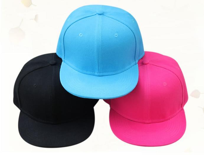 Wholesale- no logo cotton kids child children baseball cap boy girl flat brim hiphop snapback Black blue pink