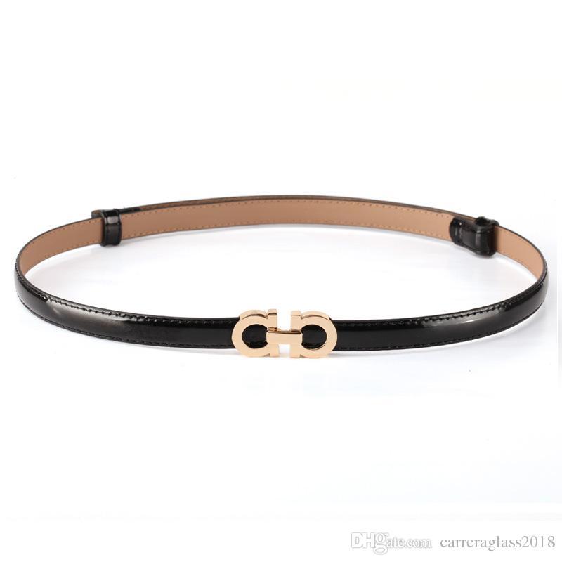 Moda verão Mulheres Cintos De Luxo Designer De Couro De Patente Feminina Fino Vestido de Cinto Das Senhoras Rosa de Ouro Fivela Cintos de Cintura