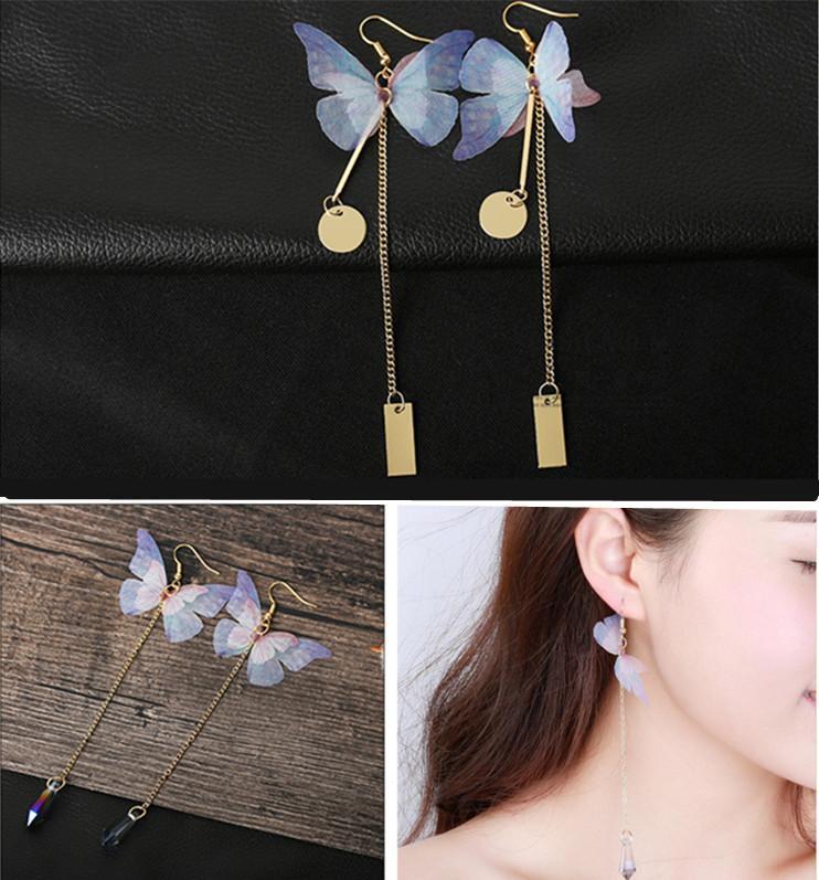 Vintage luxe papillon gland boucles d'oreilles plaqué or poisson oreille crochet or tibétain lustre femmes mode goutte d'eau bijoux