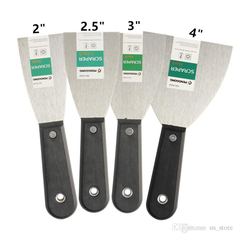 """4 шт. / компл. шпатлевка нож скребок лезвие 2 """" 2.5 """" 3 """" 4 """" углеродистая сталь пластиковая ручка скребок лопатой стены штукатурные нож ручной инструмент"""