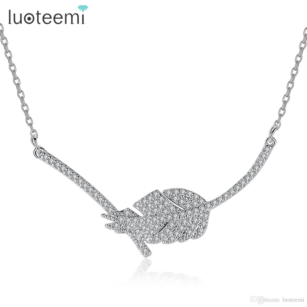 LUOTEEMI Choker Pendant Design Female Silver Color 2017 Clear Cubic Zirconia Leaf Necklaces for Women Fashion Jewellry