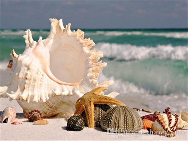 Diamant mosaïque plein carré diamant broderie travaux d'aiguille paysages Conch Beach diy diamant peinture point de croix kits Mosaic Home Decor zf0106