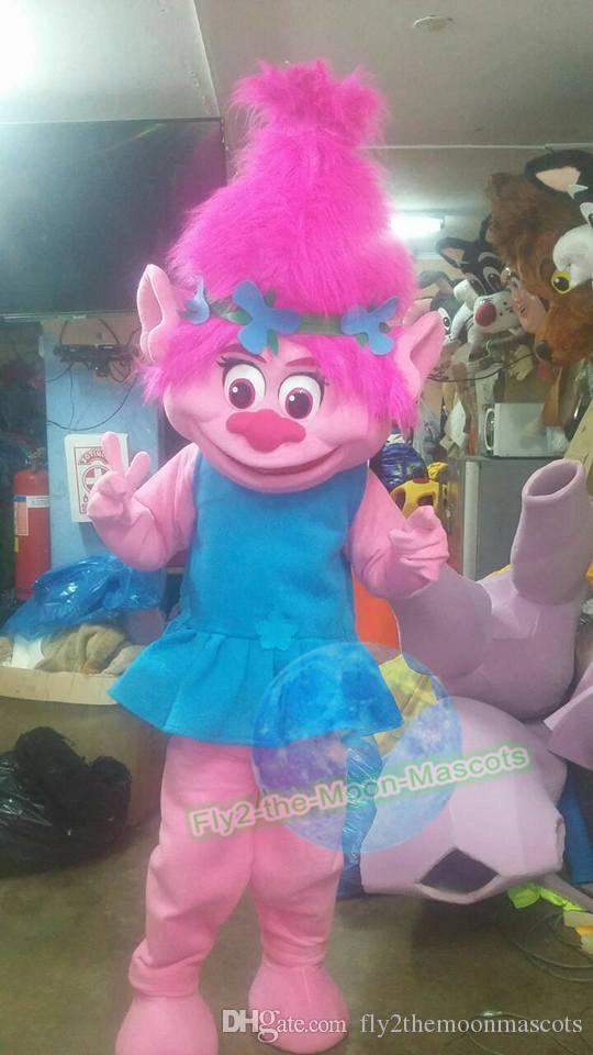 troll poppy troll and branch troll mascot costume fancy dress kid