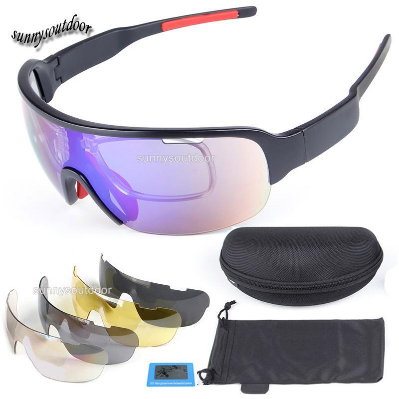 Açık Gözlük Moda Bisiklet Güneş Gözlüğü Taktik Lens Değiştirilebilir Sunglass 5 Lens ile Açık Bisiklet Spor Gözlük Lens SO02-311B