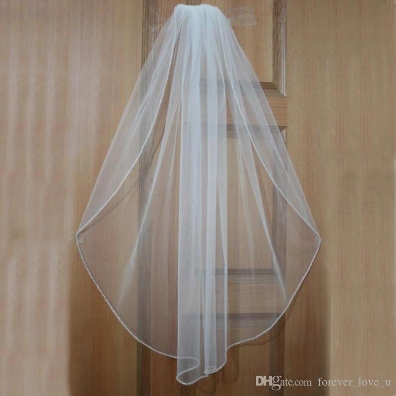 Gorąca Sprzedaż Wysokiej Jakości Soft Welon White / Ivory Weddel Veils Veils Bridal Access Access One Layer Simple Tulle