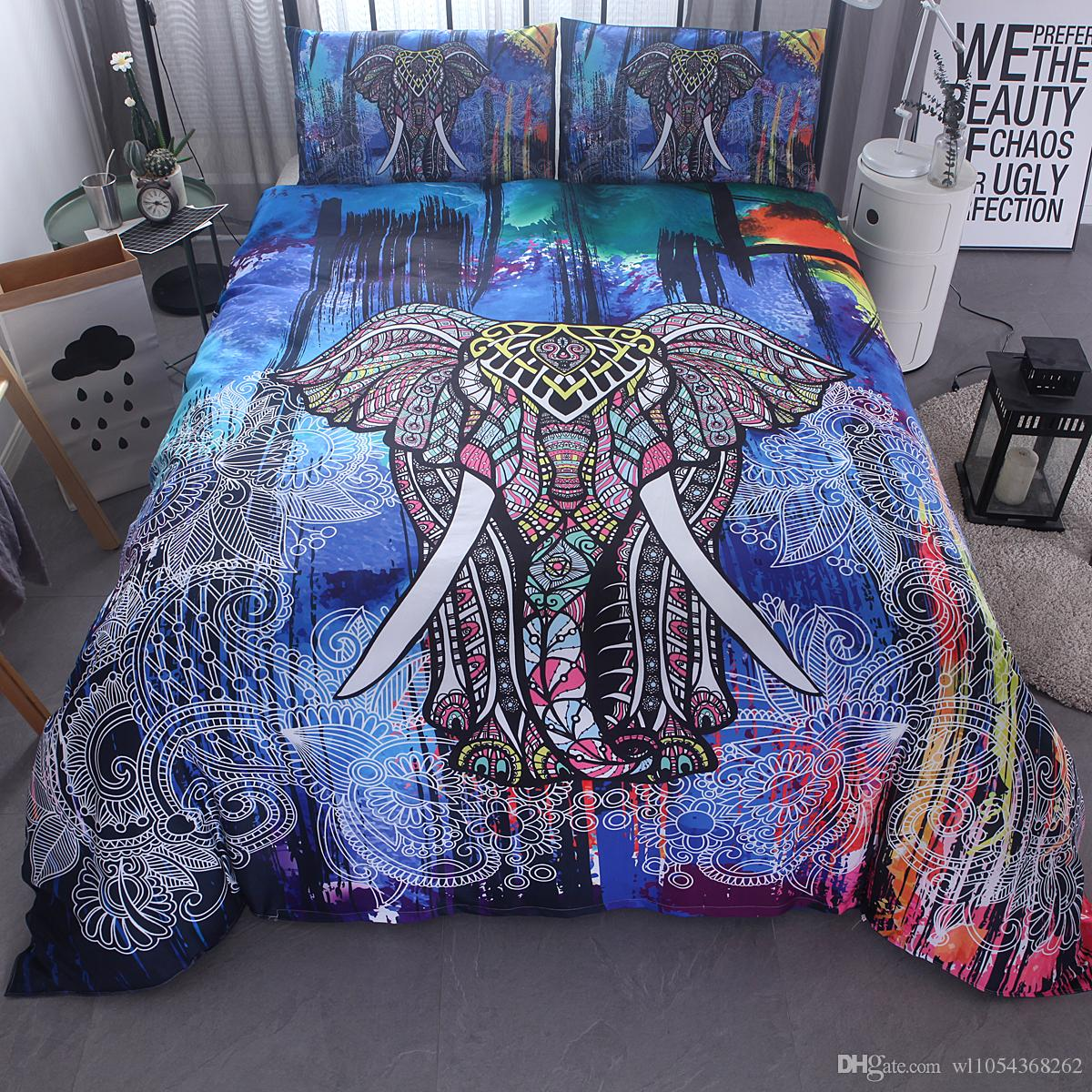Queen Size Elephant Bedding.Home Textils India Colorful 3d Elephant Bedding Set Mandala Duvet Cover Pillowcases Twin Uk Queen King Size For Adult Kids Christmas Gifts Pink Duvet