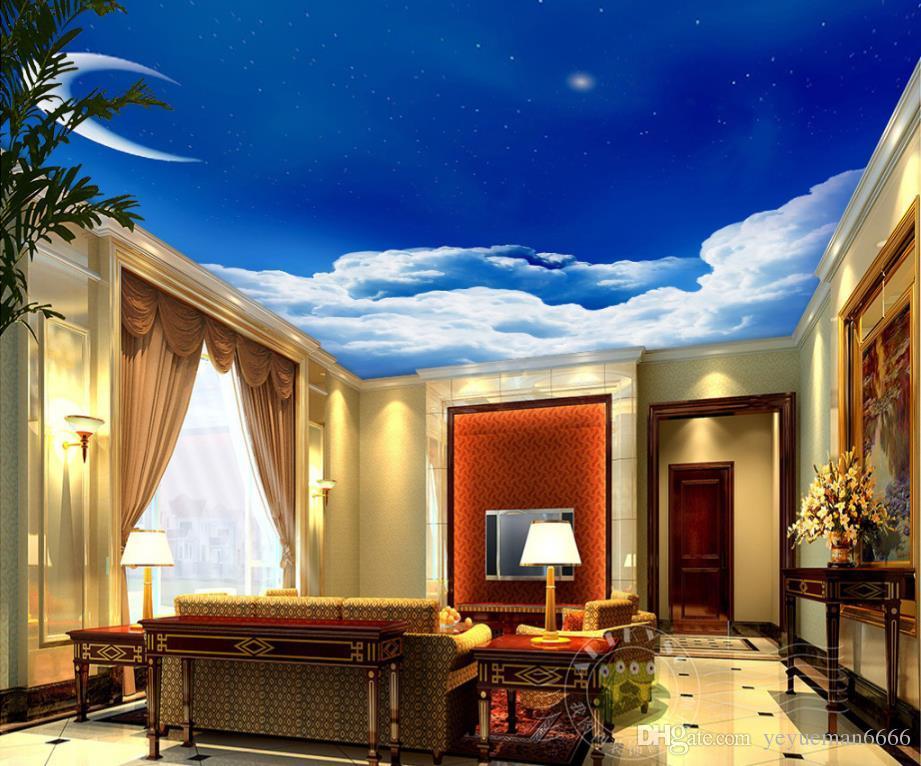 Papel tapiz personalizado 3d murales de papel tapiz luna pared decoración para el hogar sala de estar pared de techo 3d papel de lujo decoración para el hogar