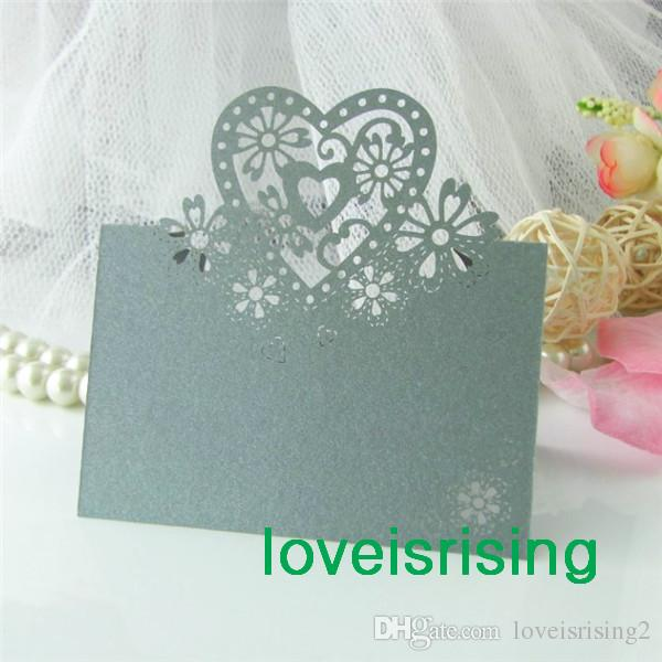 높은 품질 - 결혼식 파티 테이블 장식에 대 한 50pcs / lot 실버 컬러 레이저 컷 장소 카드 결혼식 이름 카드