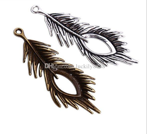50 pz / lotto vintage bronzo antico piume d'argento pendente di fascini per monili che fanno collana braccialetto fai da te 71x28mm