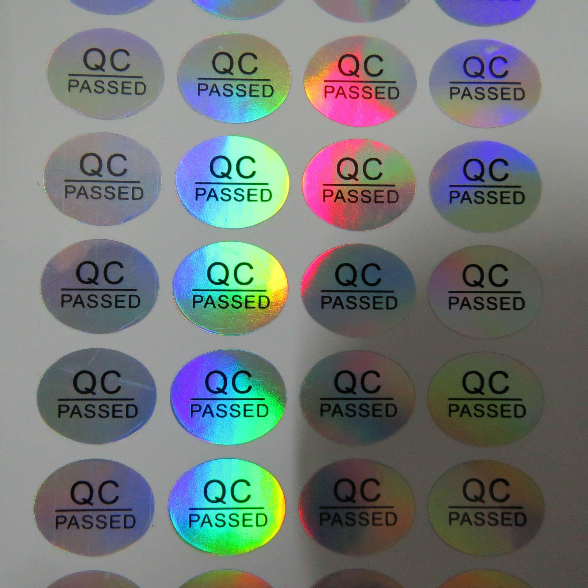16 * 13mm adhésif permanent rond QC poncturé joint de bouteille anti-faux hologramme autocollant auto-adhésif étiquette 900pcs ovale holographique label coloré