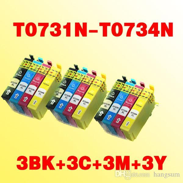 12pcs a getto d'inchiostro compatibili cartucce d'inchiostro T073N T0731N T0734N per stampante EPSON TX400 TX105 TX115 TX300F TX600F